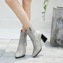 Leatherette Chunky Heel Flats Wedges With Zipper shoes