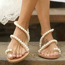 Women's Leatherette Flat Heel Flats Peep Toe Sandals With Pearl