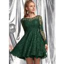 A-Line Scoop Neck Short/Mini Lace Prom Dresses With Sequins (018254566)