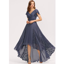 A-Line V-neck Asymmetrical Chiffon Bridesmaid Dress With Ruffle Lace (007221303)
