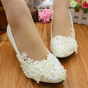 Women's Lace Leatherette Kitten Heel Closed Toe With Imitation Pearl Applique