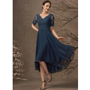 A-Line V-neck Asymmetrical Chiffon Lace Mother of the Bride Dress With Sequins (008255226)