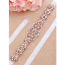 Exquisite Satin Sash With Rhinestones/Imitation Pearls (015233297)