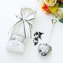 """Love Story""/""Tea Time"" Heart Shaped Metal Tea Party Favors With Ribbons (Sold in a single piece)"