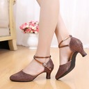Women's Leatherette Heels Sandals Ballroom Swing With Bowknot Sequin Dance Shoes
