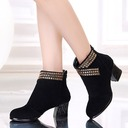 Women's Suede Boots Dance Boots With Rhinestone Dance Shoes