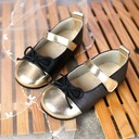 Girl's Round Toe Real Leather Flat Heel Flats Flower Girl Shoes With Bowknot Velcro