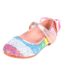 Girl Closed Toe Microfiber Leather Flower Girl Shoes With Bowknot Rhinestone Velcro
