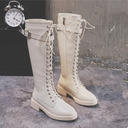 Women's Leatherette Low Heel Boots Knee High Boots Riding Boots With Buckle Zipper Lace-up shoes