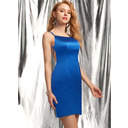 Sheath/Column Square Neckline Short/Mini Satin Homecoming Dress (022236551)