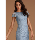 Sheath/Column Scoop Neck Knee-Length Lace Bridesmaid Dress (007250172)