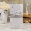 Floral Style Z-Fold Invitation Cards With Bows (Set of 50)