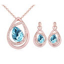Ladies' Beautiful Alloy/Rose Gold Plated With Pear Austrian Crystal Jewelry Sets For Bridesmaid/For Friends
