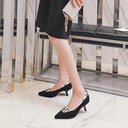 Women's Cloth Stiletto Heel Pumps Closed Toe With Elastic Band shoes