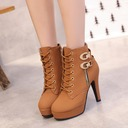 Women's PU Stiletto Heel Boots With Rivet Lace-up shoes