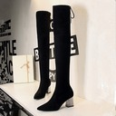 Women's Suede Chunky Heel Pumps Closed Toe Boots Over The Knee Boots With Sparkling Glitter Crystal Heel shoes