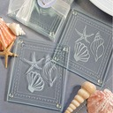 Shell & Star Glass Coaster With Ribbons (Set of 2 pieces)