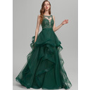 Ball-Gown/Princess Scoop Neck Floor-Length Tulle Prom Dresses With Ruffle Lace (018224403)