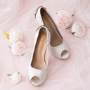 Women's Silk Like Satin Stiletto Heel Peep Toe Platform Pumps With Buckle