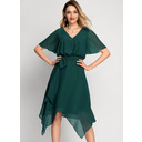 V-neck Asymmetrical Chiffon Cocktail Dress (270236917)