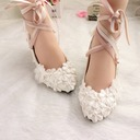 Women's Patent Leather Kitten Heel Closed Toe Pumps With Imitation Pearl Lace-up Applique