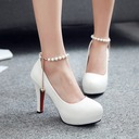 Women's Leatherette Stiletto Heel Closed Toe Platform Pumps With Imitation Pearl