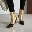 Women's Leatherette Stiletto Heel Mid-Calf Boots With Sequin Splice Color shoes