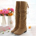 Women's Suede Low Heel Closed Toe Boots Knee High Boots With Ribbon Tie shoes