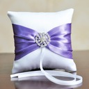Gorgeous Ring Pillow in Satin With Ribbons/Rhinestones