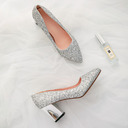 Women's Sparkling Glitter Chunky Heel Closed Toe Pumps With Sparkling Glitter