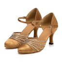 Women's Fabric Heels Sandals Ballroom Swing With Ankle Strap Dance Shoes