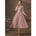 A-Line Scoop Neck Tea-Length Chiffon Lace Mother of the Bride Dress With Sequins (008255220)