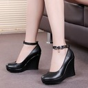 Women's Real Leather Pumps Ballroom With Ankle Strap Dance Shoes