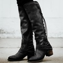 Women's Suede Chunky Heel Pumps Knee High Boots With Lace-up Split Joint shoes