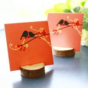 """""""Happy Wedding""""/""""Happy Time"""" Wooden Place Card Holders (Set of 4)"""