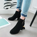 Women's Suede Chunky Heel Pumps Ankle Boots With Zipper Lace-up shoes