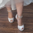 Women's Satin Stiletto Heel Peep Toe Pumps Sandals With Rhinestone