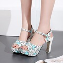 Women's Leatherette Chunky Heel Sandals Pumps Peep Toe With Buckle Others shoes