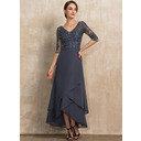 V-neck Asymmetrical Chiffon Lace Mother of the Bride Dress With Beading Sequins (267242582)
