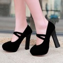 Women's Suede Chunky Heel Pumps Platform Closed Toe With Others shoes