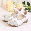Girl's Closed Toe Leatherette Low Heel Pumps Flower Girl Shoes With Beading Buckle Sparkling Glitter