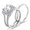 Halo Side Stones Cushion Cut 925 Silver Bridal Sets