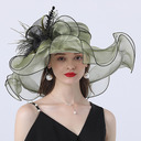 Ladies' Gorgeous/Classic/Elegant Organza With Feather/Tulle/Flower Floppy Hats
