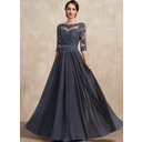 A-Line Scoop Neck Floor-Length Chiffon Lace Mother of the Bride Dress With Beading Sequins (008225560)