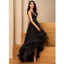 A-Line V-neck Asymmetrical Tulle Evening Dress With Beading (017229887)