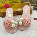Girl's Peep Toe Slingback Leatherette Flat Heel Sandals Flats Slippers Flower Girl Shoes With Imitation Pearl Satin Flower