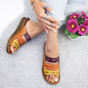 PU Wedge Heel Sandals Wedges Peep Toe Slippers With Hollow-out shoes