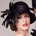 Dames Betoverend Wol/Netto garen met Feather Bowlingspeler / Glazen kap Hat/Kentucky Derby Hats