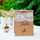 Rectangular Lint/Lace/Kraft Paper Table Number Cards (Set of 10)