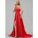 A-Line V-neck Sweep Train Satin Prom Dresses With Split Front (018220264)